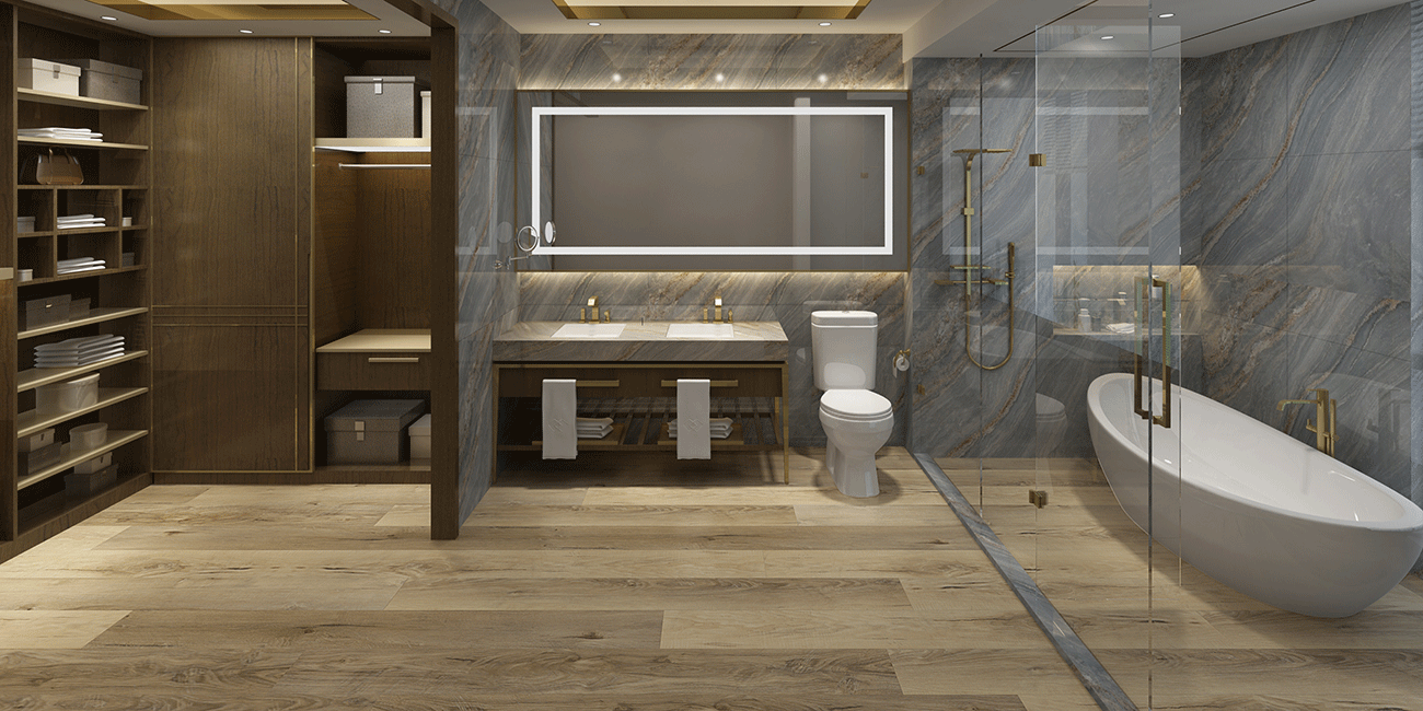 Impervia Commercial Bathroom Natural Oak Luxury Vinyl Flooring