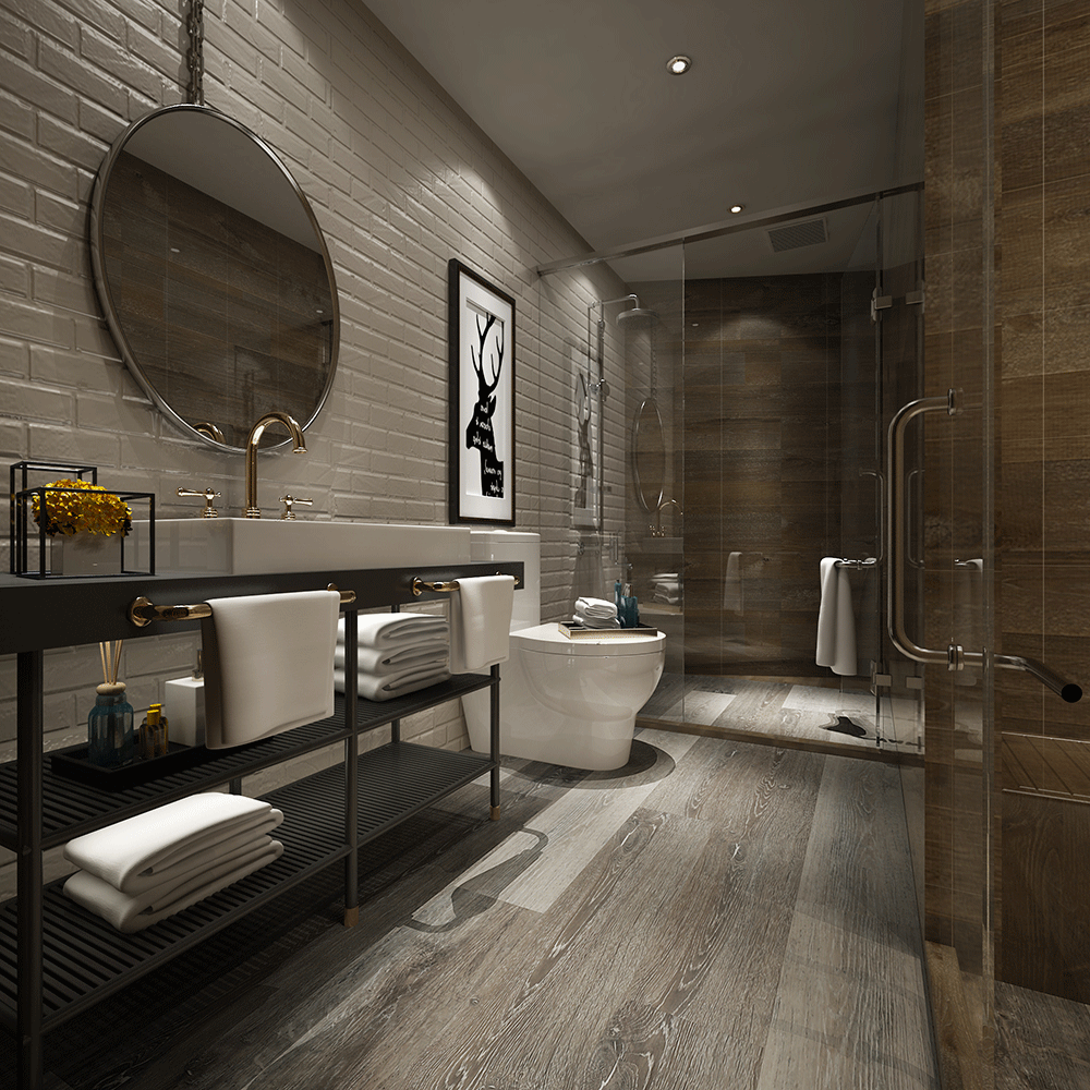 Impervia Bathroom Limed Fumed  Grey Oak Luxury Vinyl Flooring