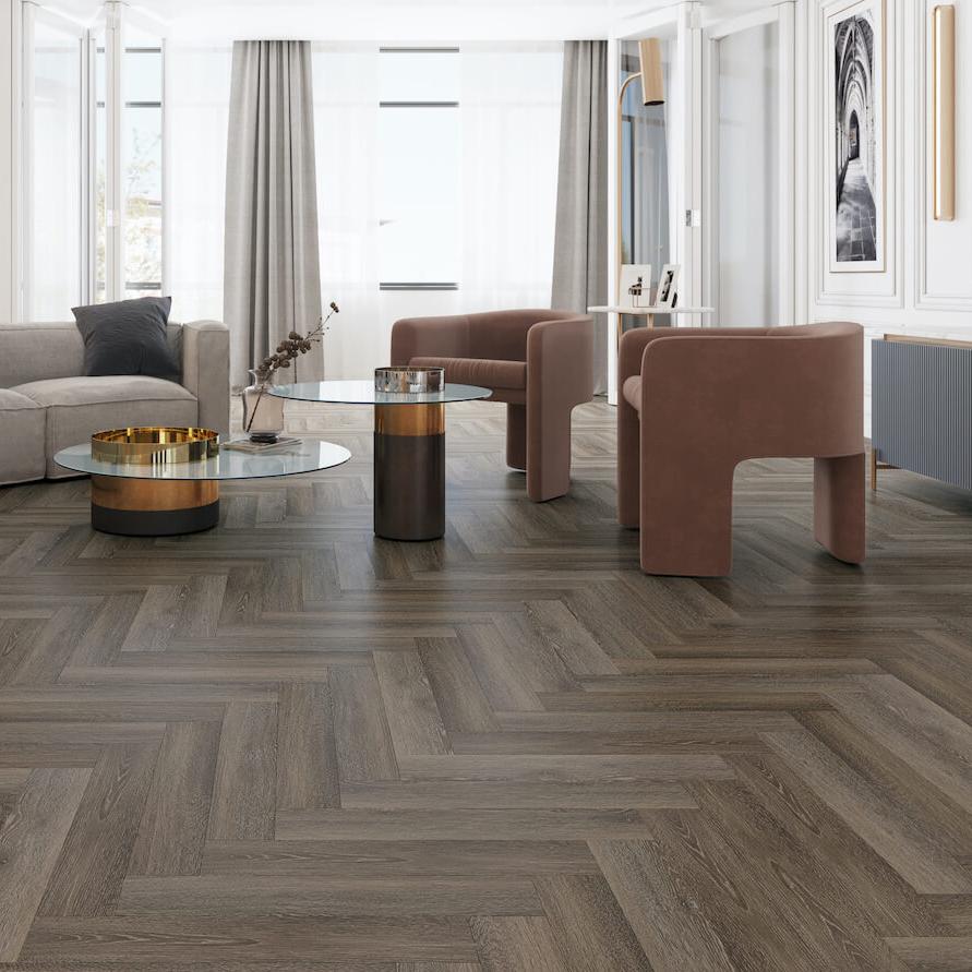 Impervia® Herringbone Cobble Grey Oak Flooring