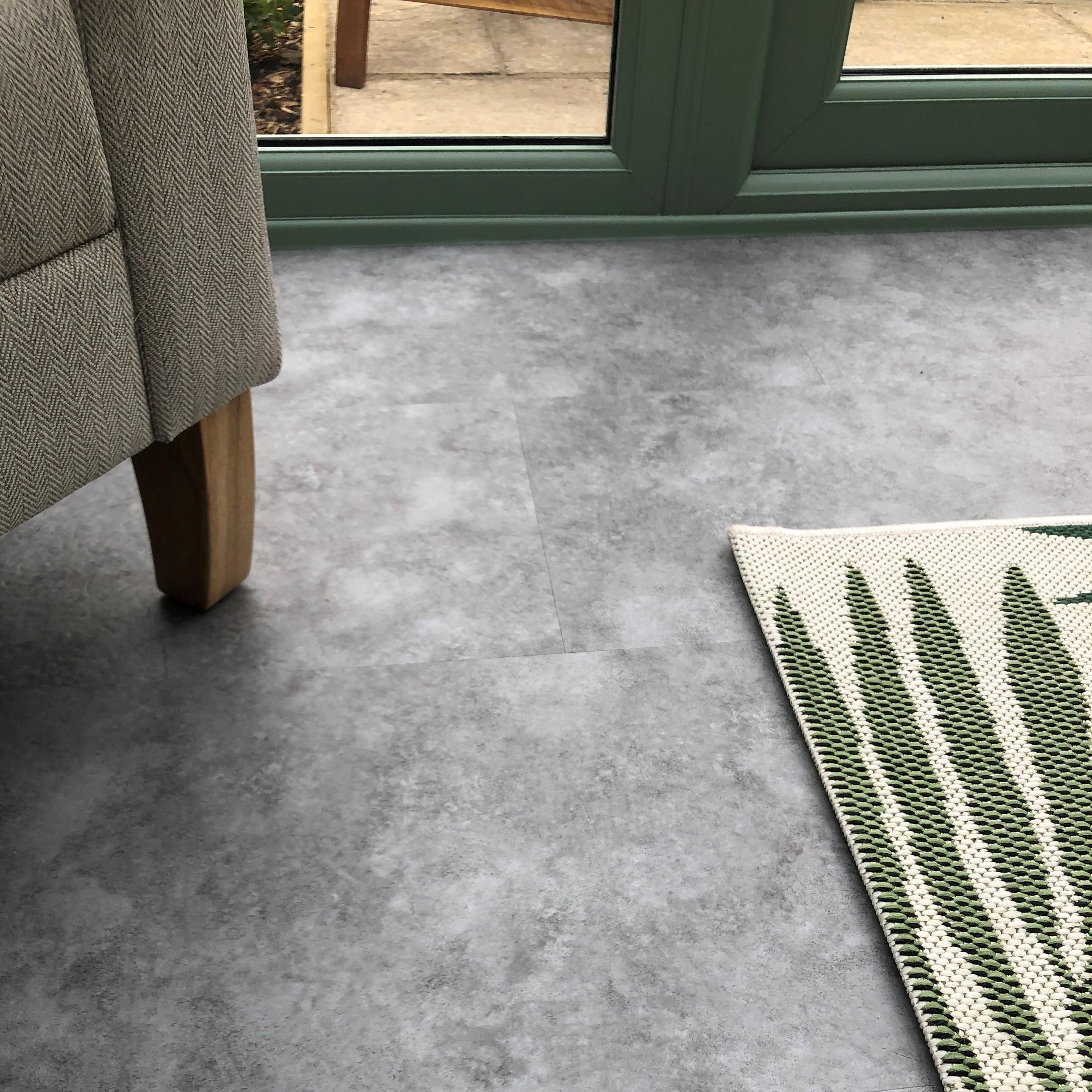 Terrazzo Blue Stone Luxury Vinyl Tile In Garden Room