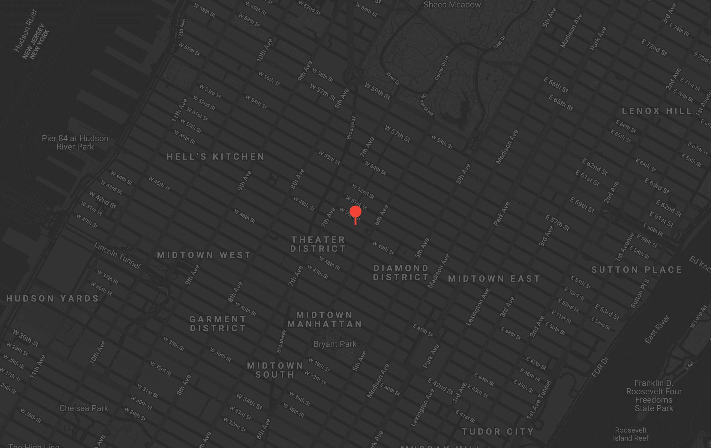 Map of Midtown Manhattan.