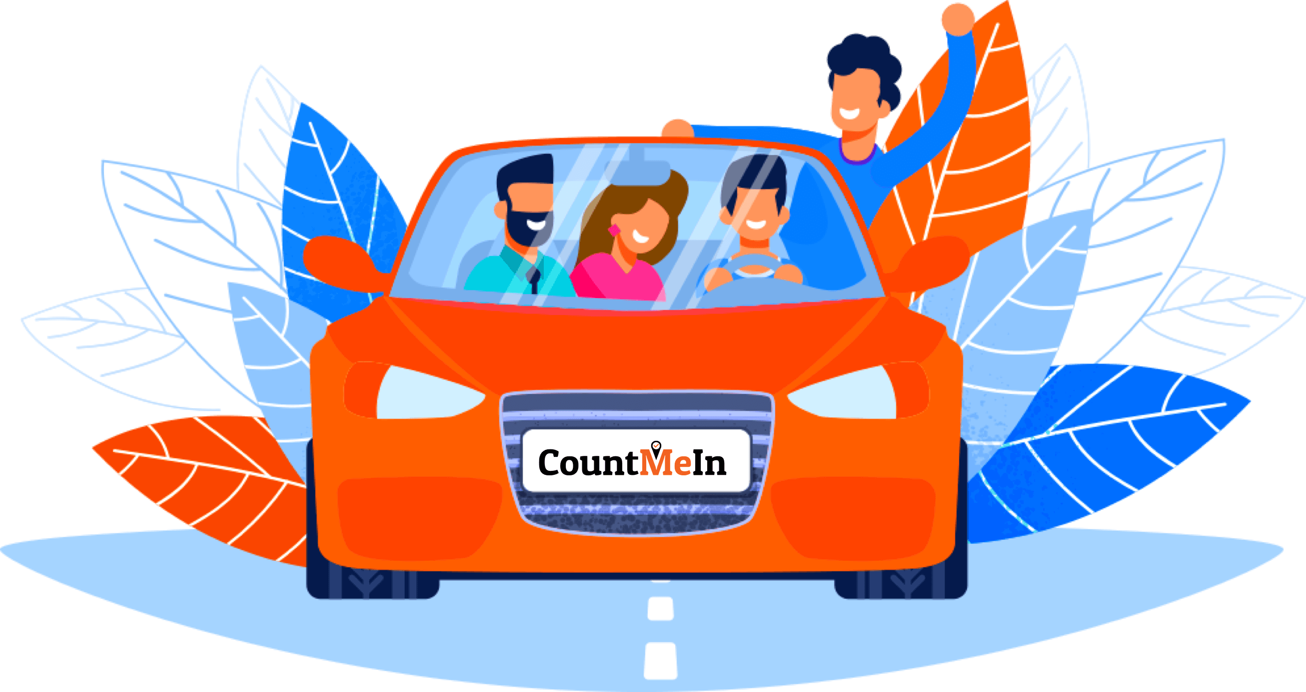 A car with 4 passengers illustration