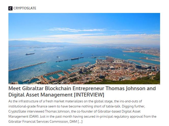 CryptoSlate Interview: Meet Gibraltar Blockchain Entrepreneur Thomas Johnson and Digital Asset Management