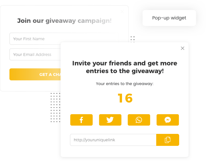 Sign up widget for the tempting giveaway template by Viral Loops