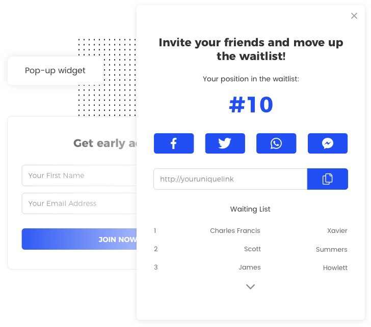 Example widget for the Startup Prelaunch template by Viral Loops