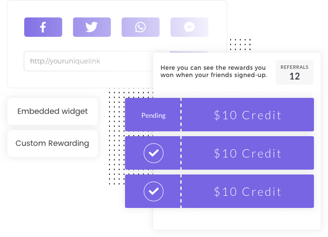 Example widget of the Altruistic Referral template by Viral Loops