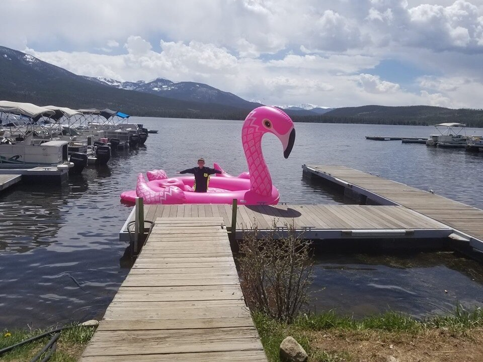 Trail Ridge Marina-home of the pink flamingo!  Available for group photos when you visit!