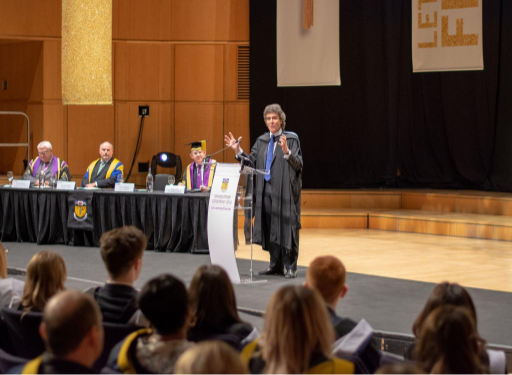Jim Pettigrew speaking at graduation ceremony