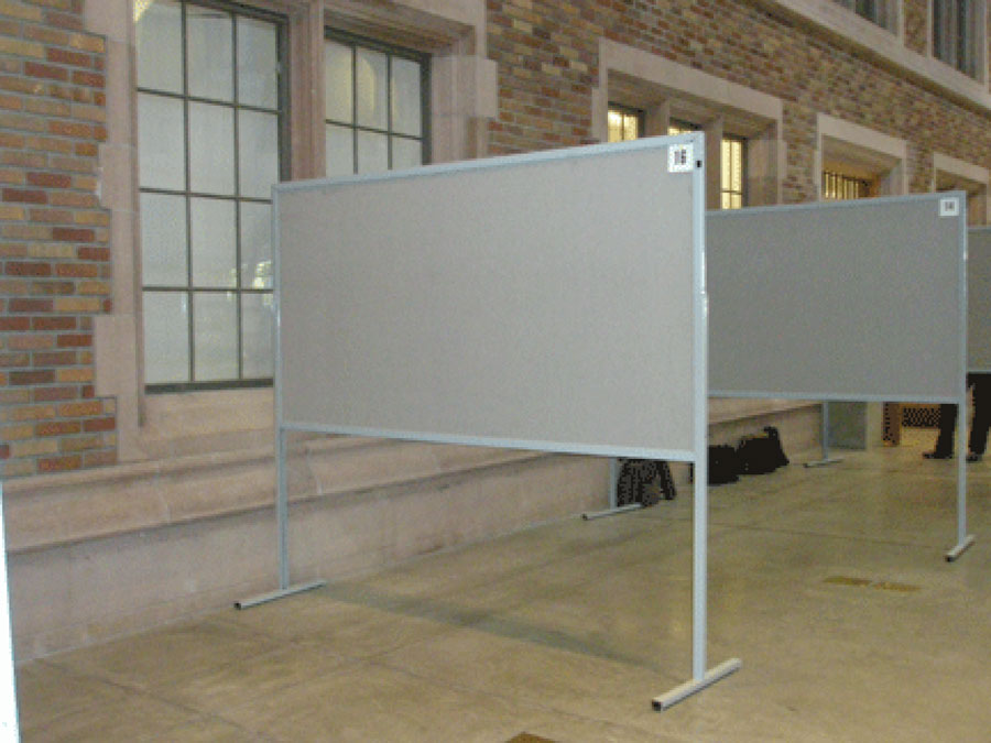 Several panels of empty bulletin boards standing in a row to demonstrate how posters will be displayed at ISHRNAS2021