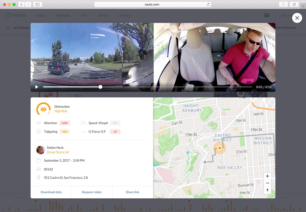 AI Dash Cam Video and Analysis Screenshot
