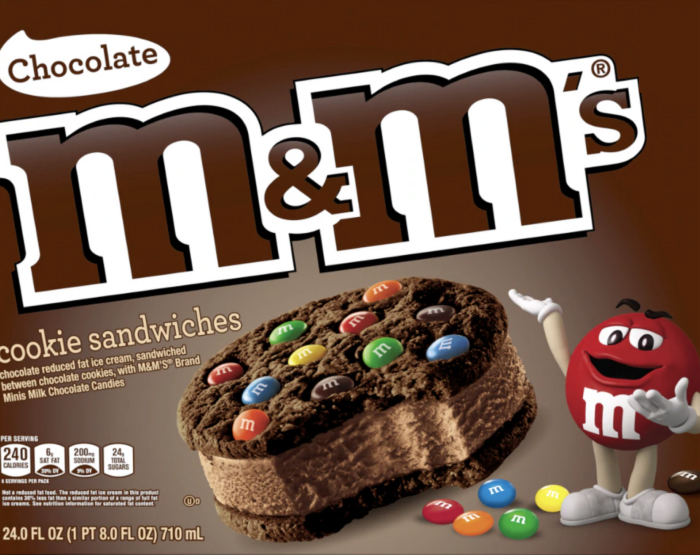 m&m's chocolate ice cream cookie sandwich