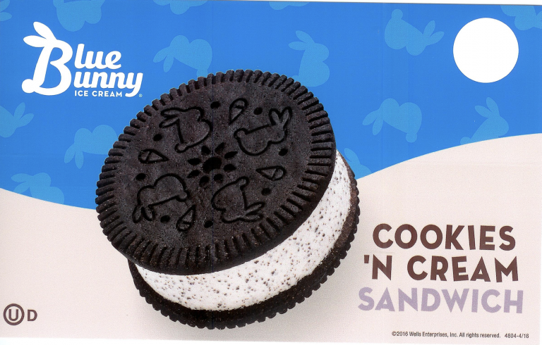 Cookies and cream blue bunny sandwich