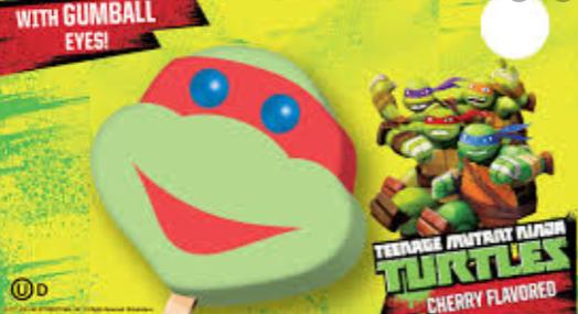 ninja turtle popsicle on menu of ice cream truck