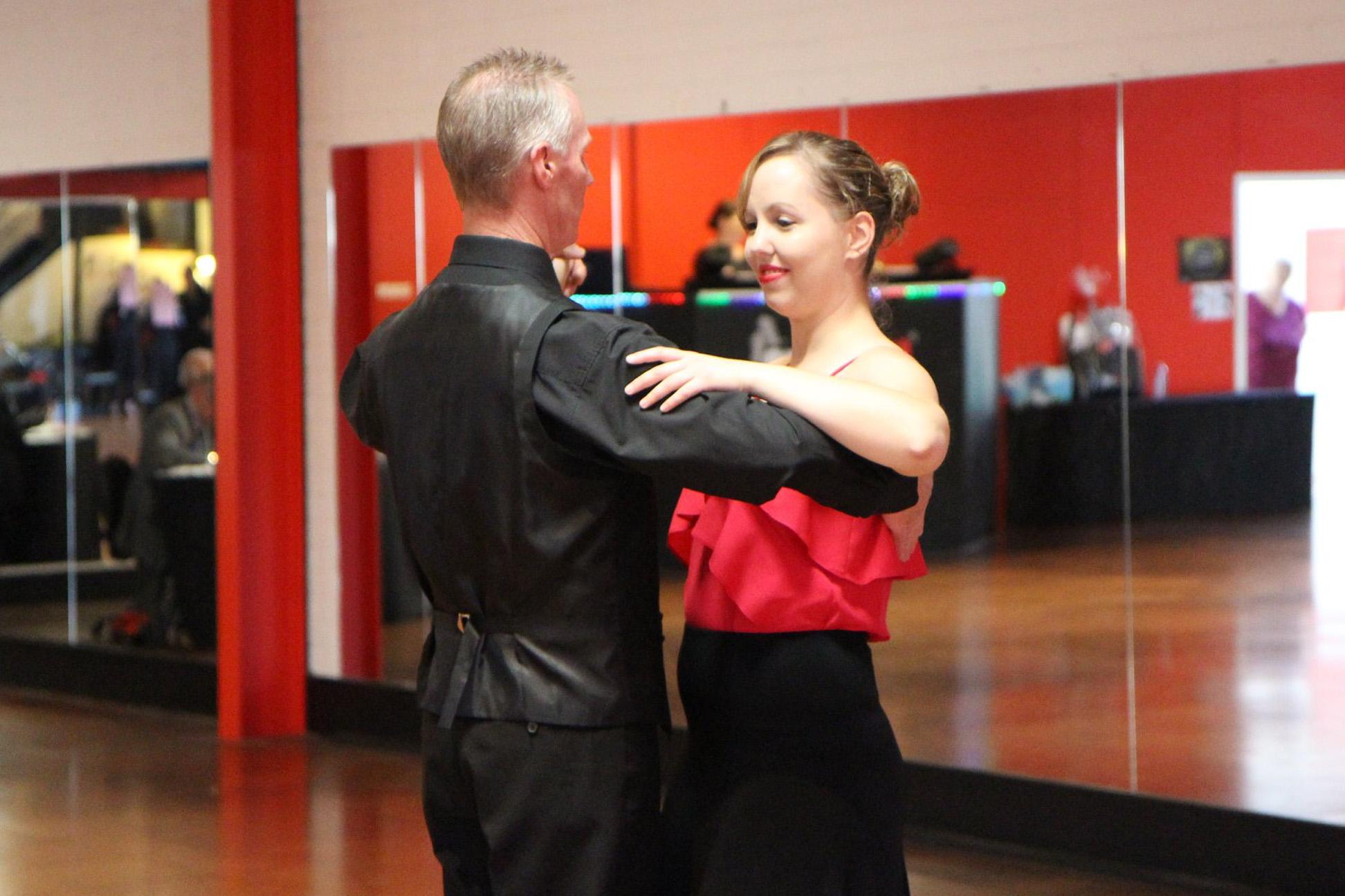 Student taking a ballroom lesson at MarShere Greensborough
