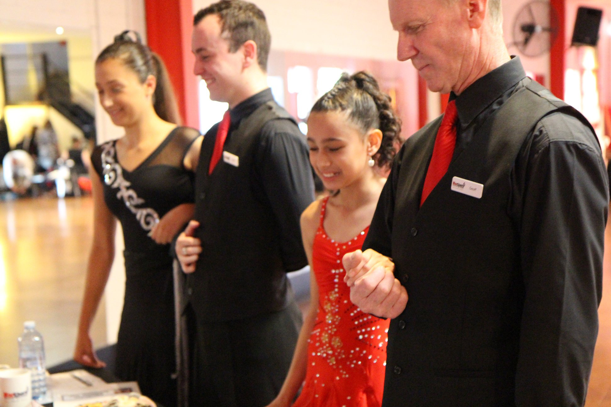Students meeting the judges for their Ballroom Dancing awards
