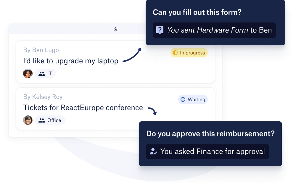 Back creates form and approval requests to respond to employees' queries