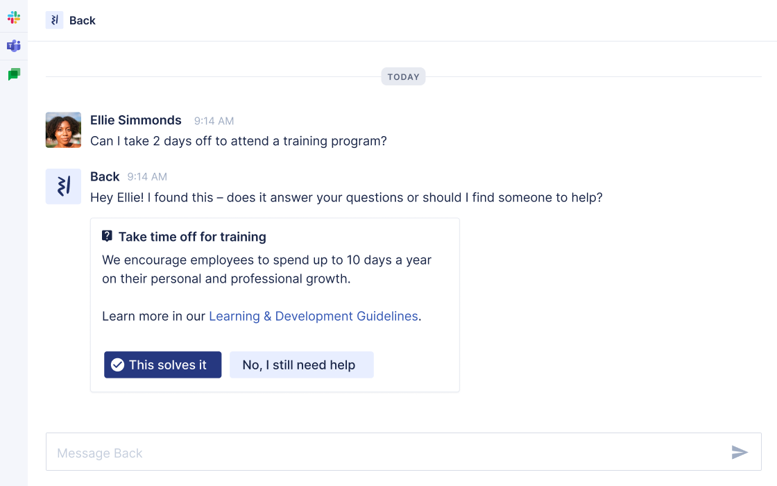 leave and absence messaging in Slack, MS Teams, Google Chat