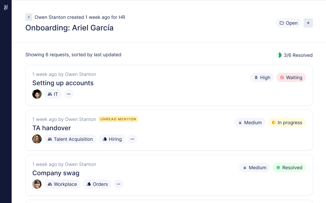 Manage employee onboarding projects