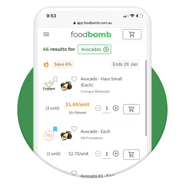 Screenshot of Foodbomb search page