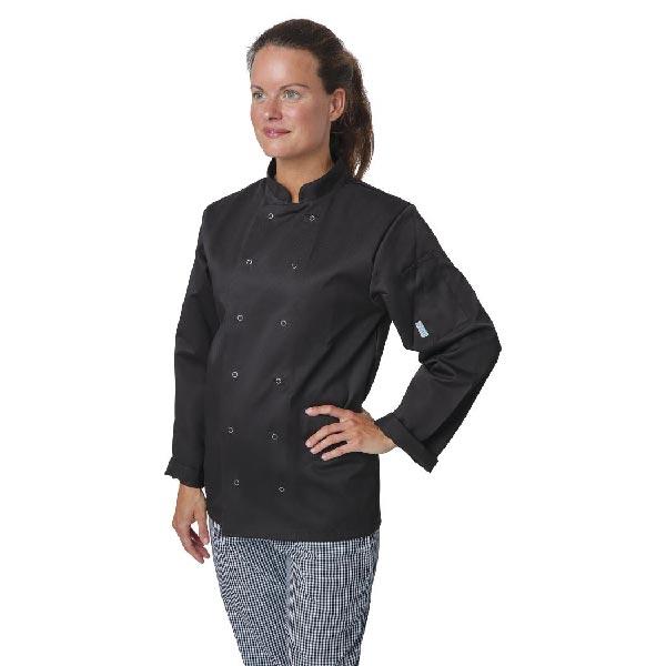 Whites Vegas Chefs Jacket Long Sleeve Black Polycotton