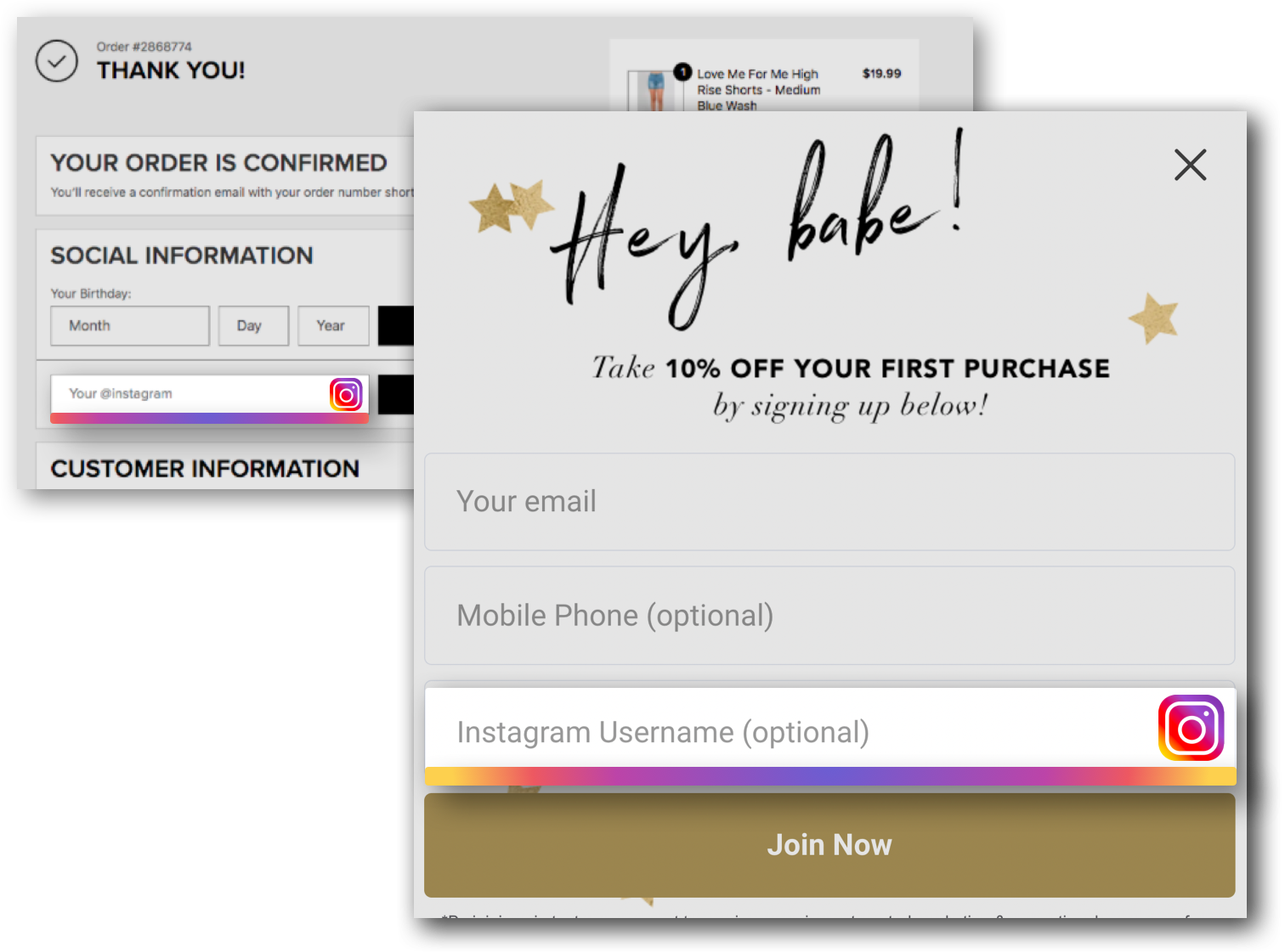 Gatsby instagram handle fields integrated into popups