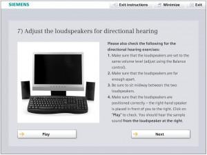 Screenshot: Indivduelle Einstellungen zu Beginn des Hörgerätetrainings zur Steigerung der Adhärenz