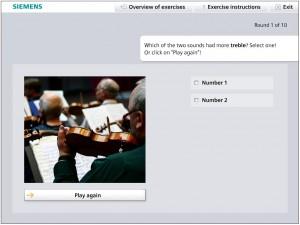 Screenshot des Hörgerätetrainings zur Steigerung der Adhärenz: Übung Töne unterscheiden