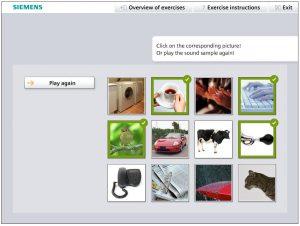 Screenshot des Hörgerätetraings zur Steigerung der Adhärenz: Geräusche erkennen