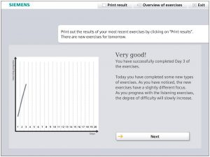 Screenshot des Hörgerätetrainings zur Steigerung der Adhärenz: Auswertung Tag 3