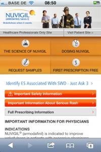 Nugivil - Mobile Pharma Webseite für Ärzte