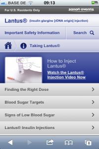 Lantus - Mobile Pharma Webseite - Verabreichung