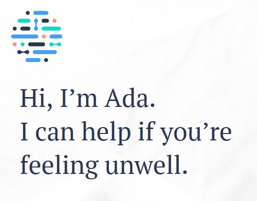 Ada - Begrüßung auf der Startseite – Bildquelle: © 2018 Ada Health