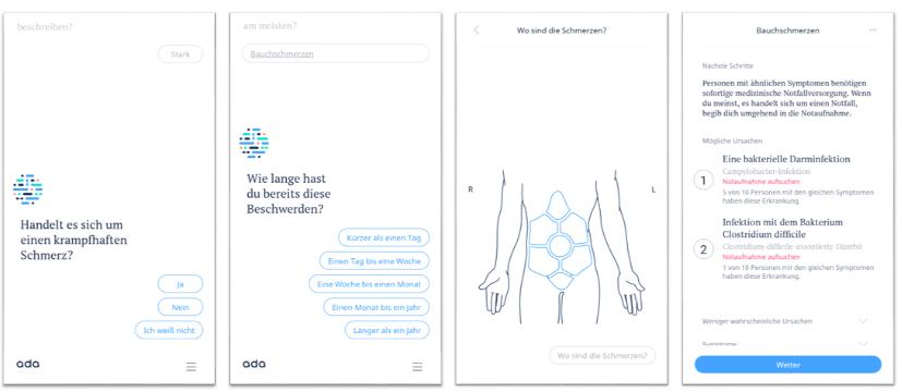 Screenshots der Ada-App. Bildquelle: © 2018 Ada Health