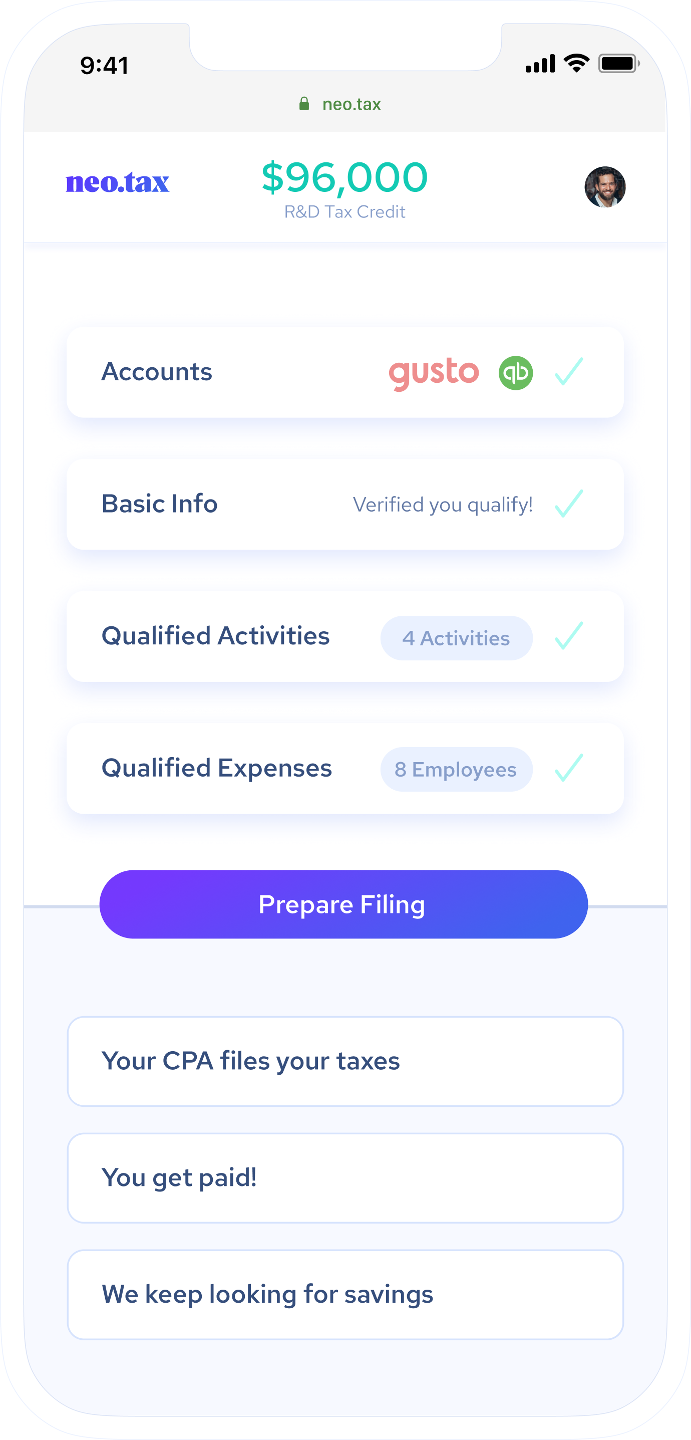 App preview showing four steps to getting your tax credit