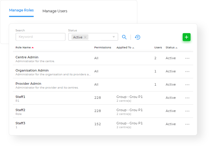 Storypark Manage user roles screenshot