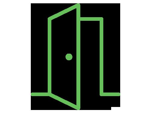 Green open door icon