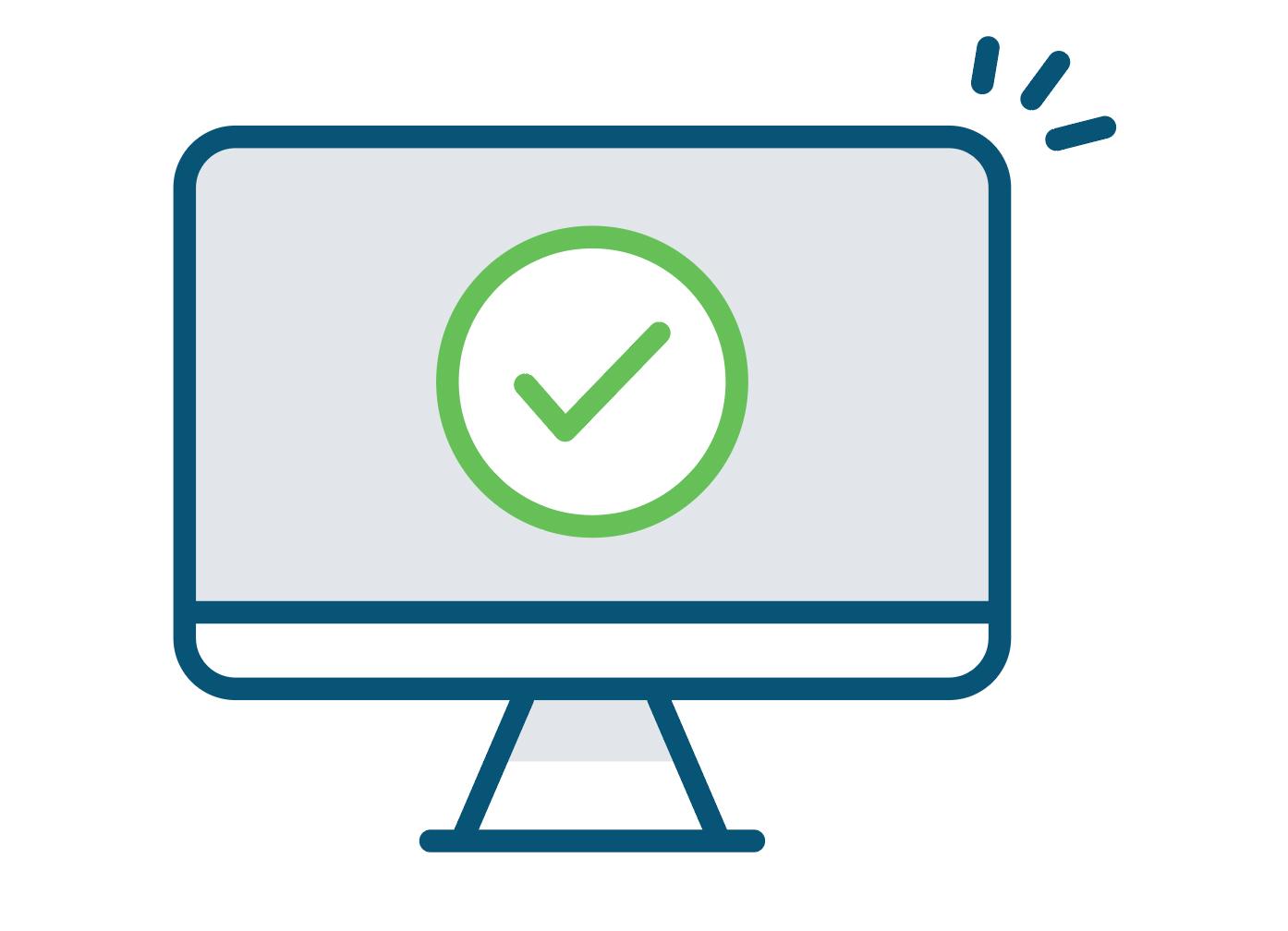 Green tick icon on a computer screen vector