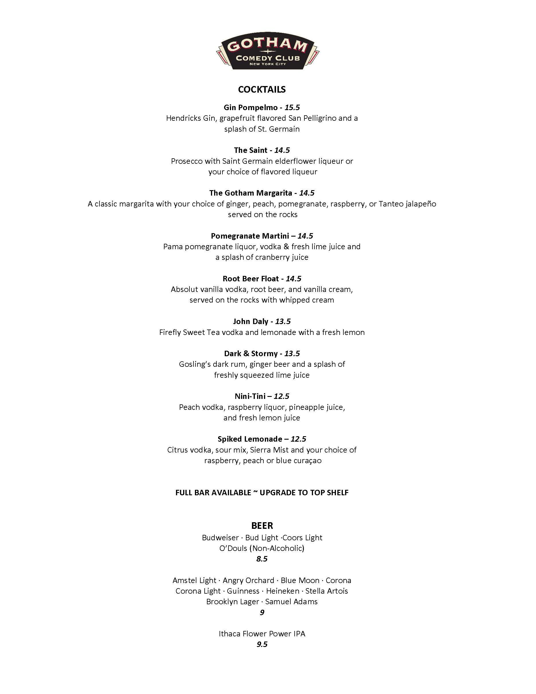Gotham menu