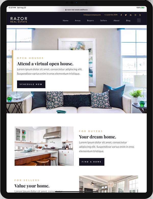 Razor Real Estate Template Screenshot