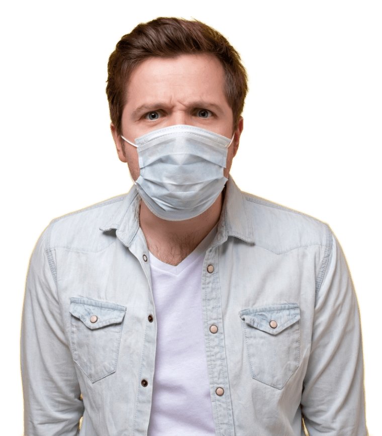 Man wearing mask for protection against indoor air dangers