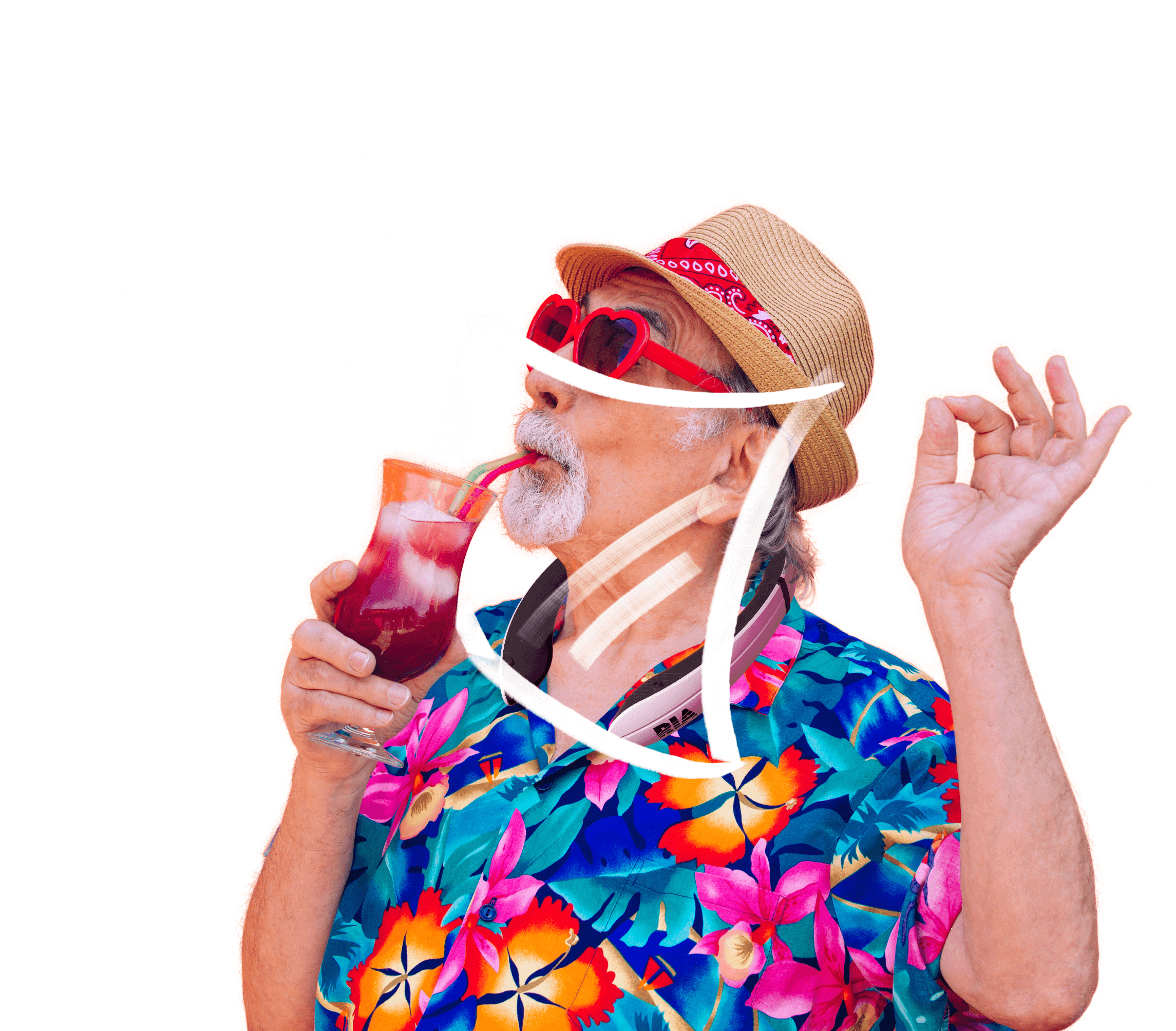 Man drinking punch while wearing RIA and enjoying his personal clean zone