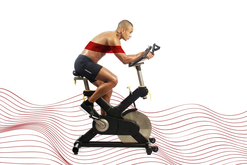 Photo of a man on exercise bike