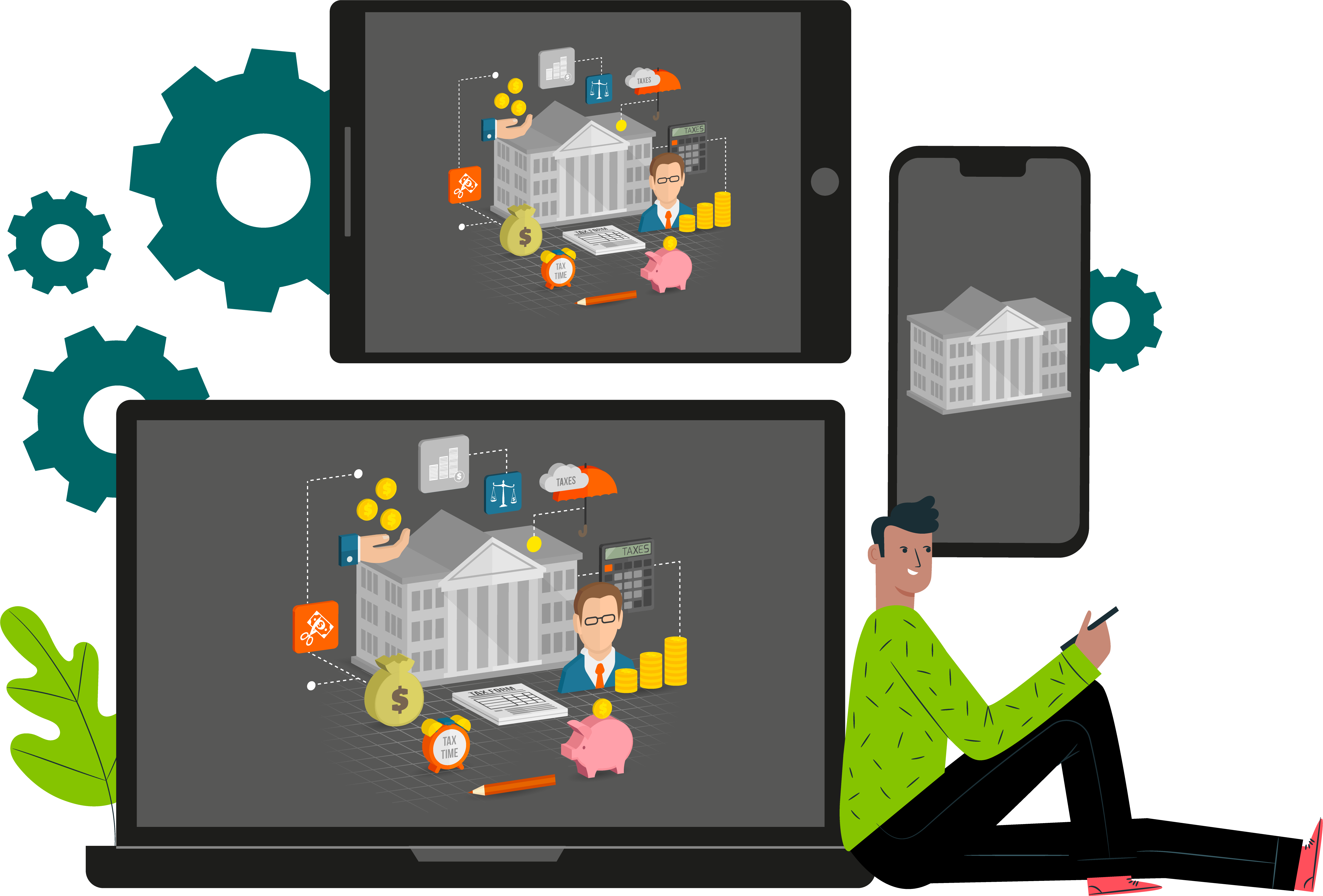 Laptop, tablet and smartphone showing a government building. This illustrates the digitalization of the state.
