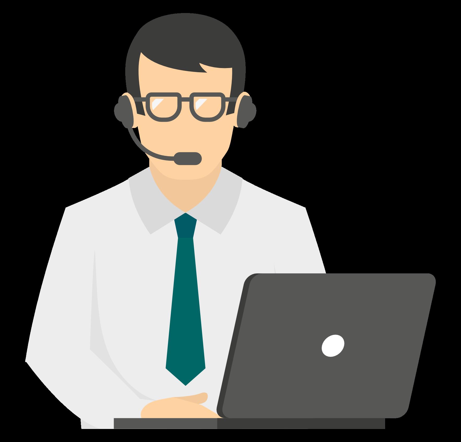 Manager mit Headset arbeitet an einem Laptop.