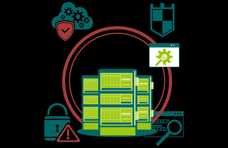 Funktionierende Server sind umgeben von Sicherheitssymbolen