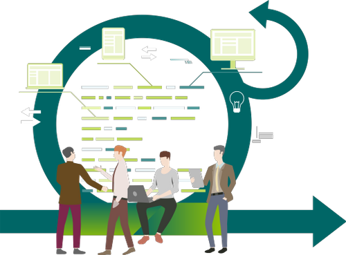 Agile icon with workers sitting on it and sharing.