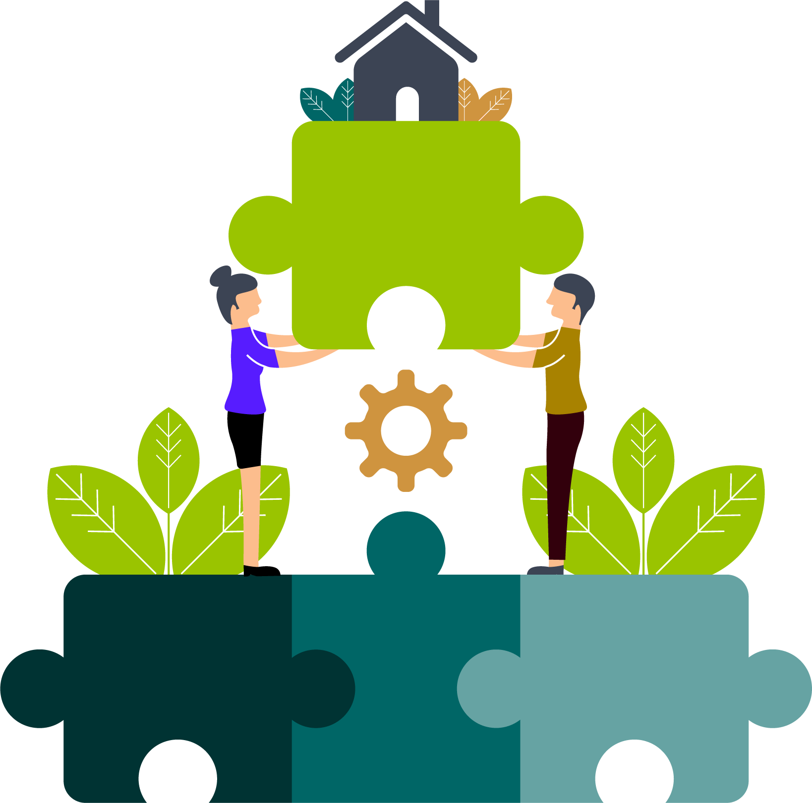 Two people complete the last piece of a puzzle together. A finished house already stands on this last piece. This is to illustrate that our consultants bring the entire project management platform with them.