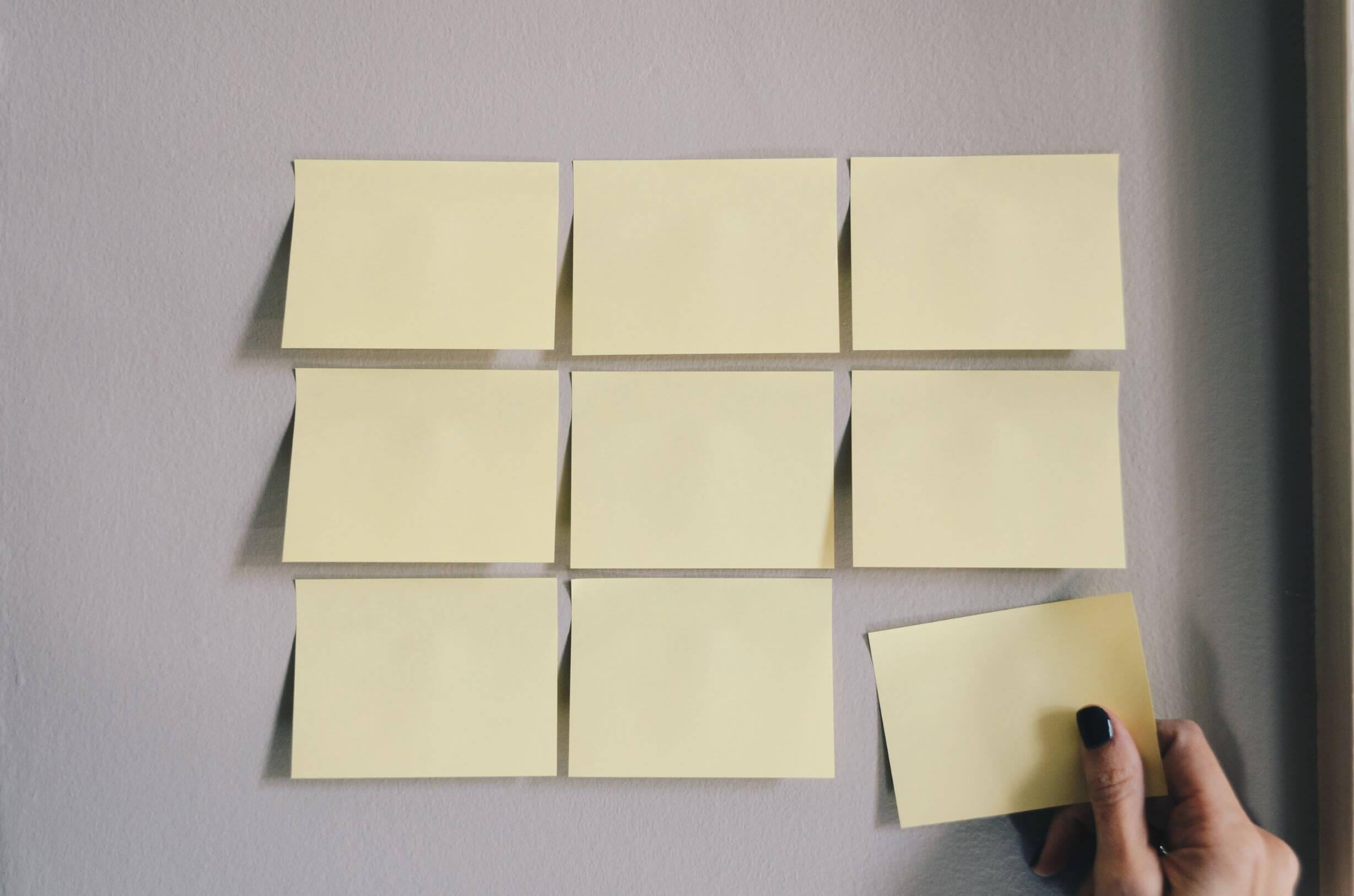 Planung mit Post IT Zettelchen