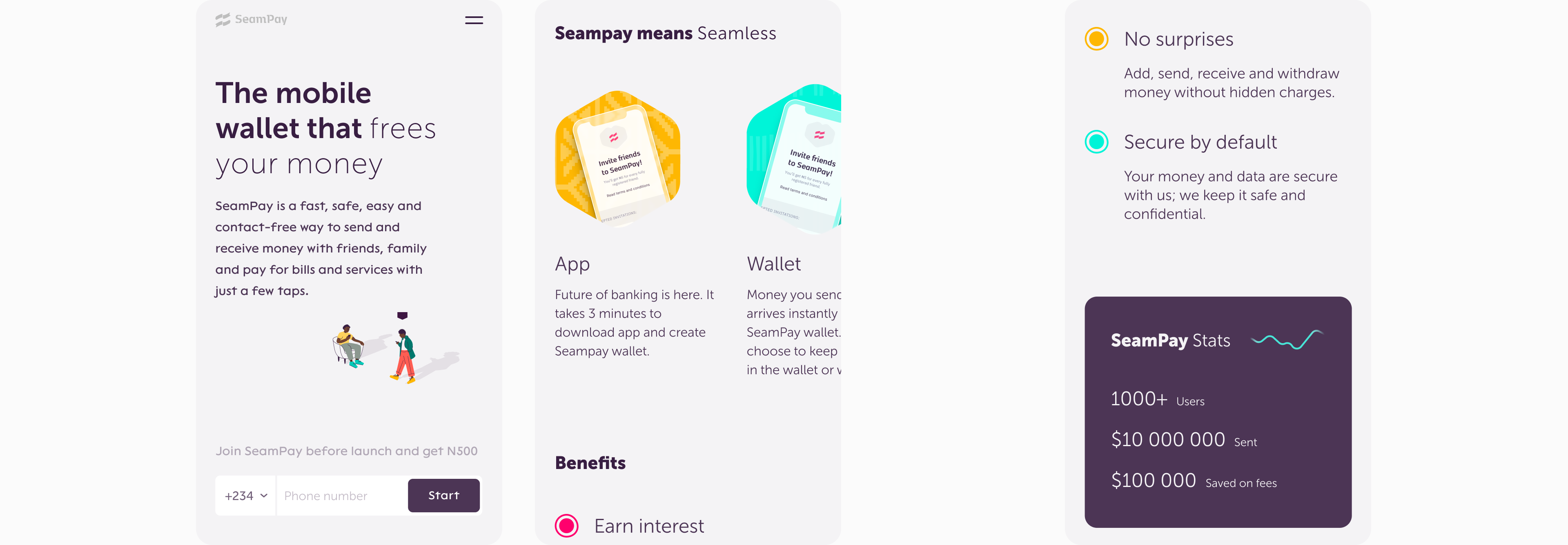 mobile version of seampay website by embacy