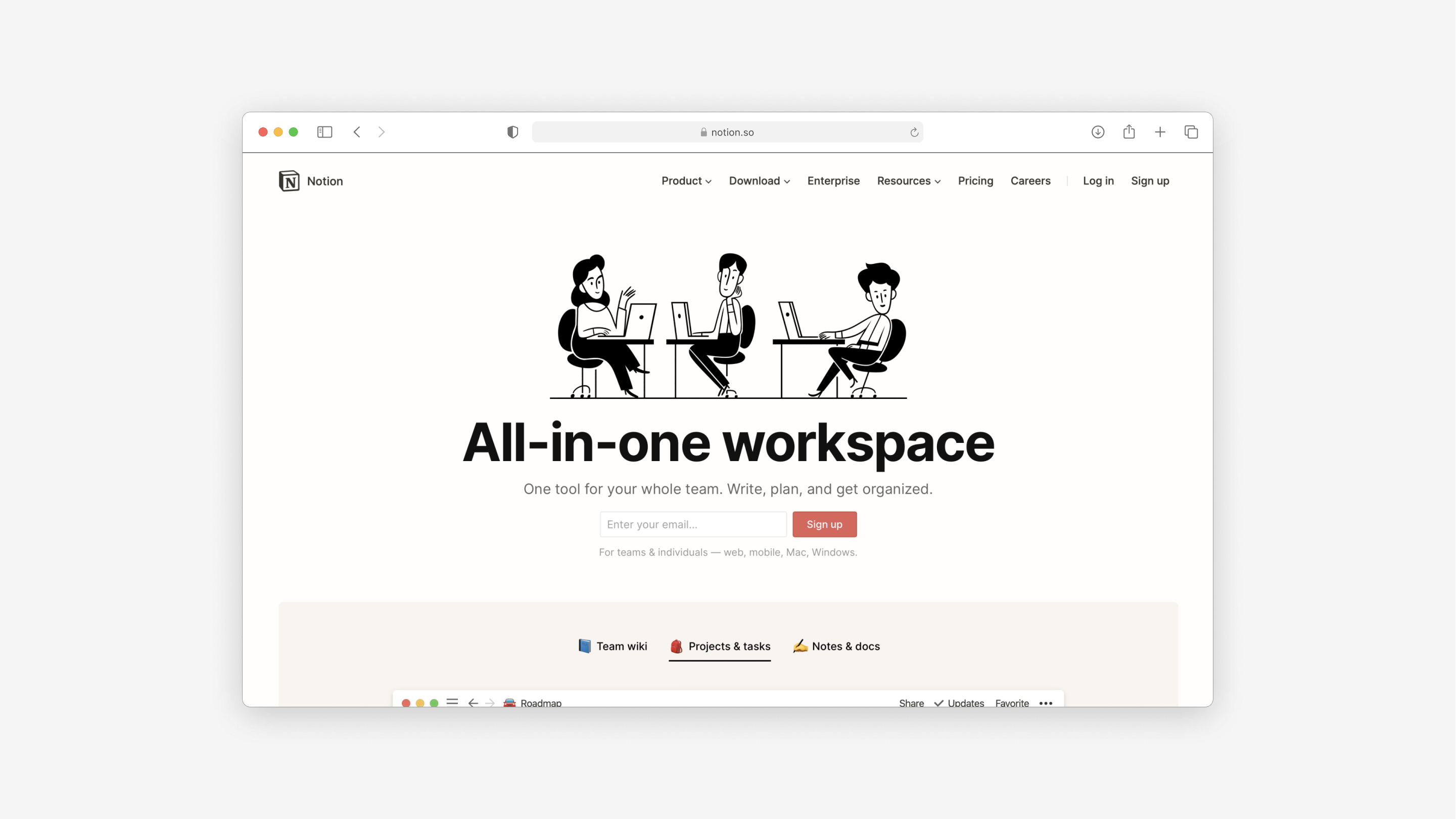 the website for Notion is a great, stylish B2B website